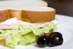 Holiday Leftovers turkey sandwich Stock Photos