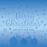 Holiday light blue background with Christmas balls. Vector illus Stock Photos