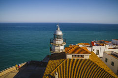 Holiday, Lighthouse penyscola views, beautiful city of Valencia Royalty Free Stock Image