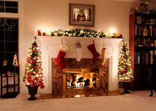 Holiday lights. Living room decked out for the Christmas holidays stock photos