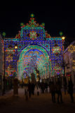 Holiday lights in the Big Square of Sibiu Stock Images