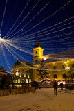 Holiday lights in the Big Square of Sibiu Royalty Free Stock Images