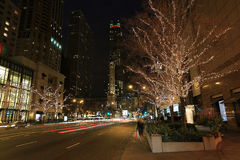 Holiday lights in Chicago. Beautiful holiday lights on Michigan Avenue in downtown Chicago at night stock photo