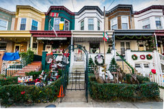 Holiday Lights and Decoration in Hampden, Baltimore Maryland stock image