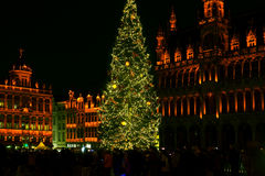 Holiday lights in Grand Place, Brussels, Belgium Stock Image