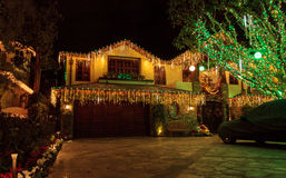 Holiday lights on a home Royalty Free Stock Photos