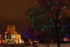 Holiday lights of legislature building Stock Images
