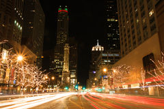 Holiday lights on Michigan Avenue Royalty Free Stock Images