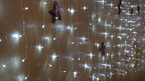 Holiday lights on the wall. Bulb light soft and comfortable light stock video footage