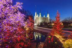 Holiday Lights at Washington DC LDS Mormon Temple royalty free stock images