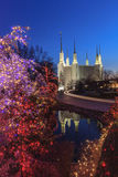 Holiday Lights at Washington DC LDS Temple Royalty Free Stock Image