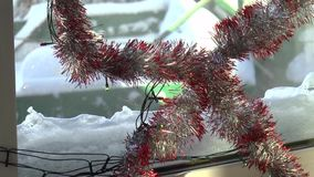 Holiday lights in the window stock video footage