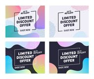 Holiday Limited Discount Offer Typography Banner Set. Good Mood for Friend. Buy at Lowest Rate in Shop. Retail Marketing Promotion. Mall Commercial Campaign stock illustration