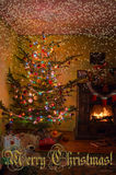 Holiday living room with the Christmas tree, gifts and a fireplace.  Christmas card Stock Photo