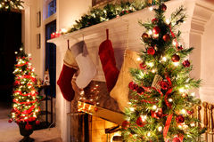 Holiday living room lights night Stock Photo