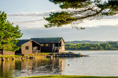 Holiday lodges by a lake Royalty Free Stock Photo