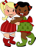 Christmas Hug. Illustration of two young girls expressing love on a holiday royalty free illustration