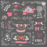 Holiday love template set.Floral decor,border, Royalty Free Stock Images