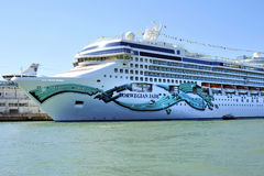 Holiday luxury ship Norwegian Jade in Venice. On Canale Grande in Venice there are a lot of huge luxury ships, full of laughing people,many of them  just married Stock Images