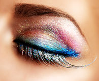 Holiday Make-up. False Lashes. Beautiful Eyes Holiday Make-up. False Lashes Royalty Free Stock Image