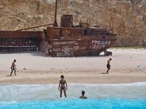 Sandy Navagio Beach, Zakynthos Greek Island, Greece Stock Photos