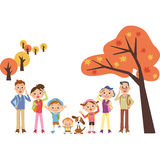 Holiday making autumn in family three generations Royalty Free Stock Photos