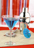 Holiday Martini. A blue martini in a holiday still life Stock Photography