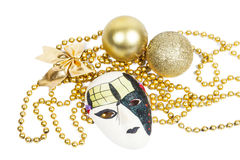 Holiday mask with christmas decorations Royalty Free Stock Photography