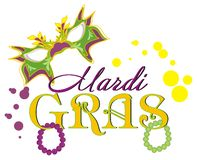 Mardi gras with many colored signs. Holiday and mask with dots and beads vector illustration