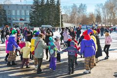The Holiday Of Maslenitsa. The Town Of Berdsk, Western Siberia royalty free stock photography
