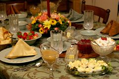Holiday Meal Table Setting Royalty Free Stock Photo