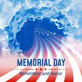 Holiday - Memorial Day in the USA. Lettering remember and honor. Abstract United States flag on a cloudy sky background. Memorial