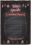 Holiday menu chalkboard design. Stock Image