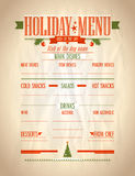 Holiday menu list. Stock Images