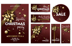 Holiday Merry Christmas party layout poster template set. Christmas Design for your holiday invitation. Vector Illustration Royalty Free Stock Photography