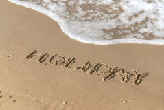 Holiday message on the beach. Sand. sunny day royalty free stock photos