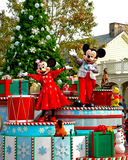 Holiday Mickey and Minnie Mouse on Parade. Mickey and Minnie Mouse lead the Holiday Parade at Disney World Royalty Free Stock Images