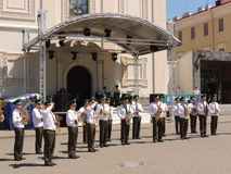 Holiday military band in Minsk. Holiday military band on the festivities for the Independence Day of the Republic of Belarus in Minsk on 4 July 2015 Royalty Free Stock Images