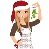 Holiday mistletoe woman Stock Photos