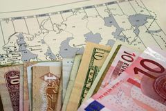 Holiday with Money. Showing Europe Royalty Free Stock Photos