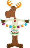 Holiday Moose Icon. Cute cartoon moose holding colorful bells. Eps10 Stock Image
