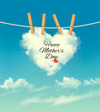 Holiday mother day background with cloud on rope. Royalty Free Stock Photo