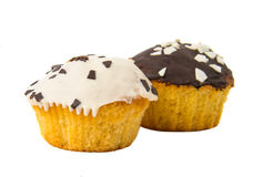Holiday muffins with icing isolated Royalty Free Stock Images