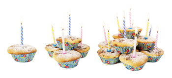 Holiday muffins with lit candles Royalty Free Stock Photo