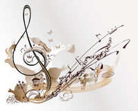 Holiday music. Abstract treble clef decorated with Christmas toys, butterflies, notes Royalty Free Illustration