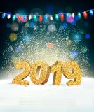 Holiday New Year Background with 2019 stock illustration