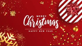 Holiday New year card - Merry Christmas on red background. Merry Christmas and Happy New Year banner, typographical red background with lights bulb and elements royalty free illustration