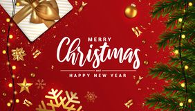 Holiday New year card - Merry Christmas on red background 3. Merry Christmas and Happy New Year banner, typographical red background with lights bulb and stock illustration