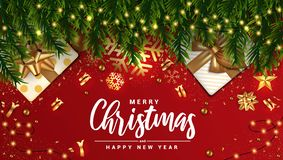 Holiday New year card - Merry Christmas on red background 4 royalty free illustration
