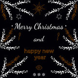 Holiday new year illustration with branches and Royalty Free Stock Photos